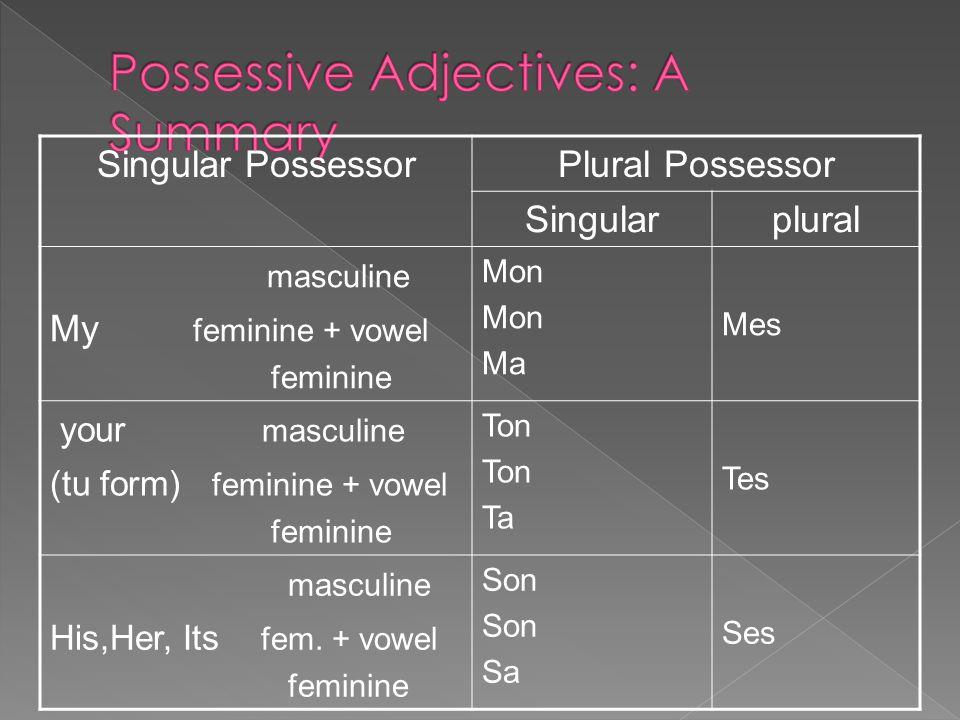 Singular PossessorPlural Possessor Singularplural masculine My feminine + vowel feminine Mon Ma Mes your masculine (tu form) feminine + vowel feminine