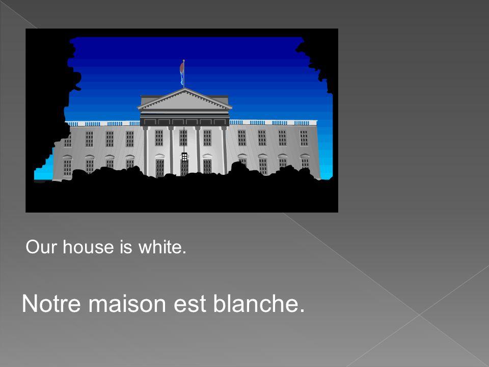 Our house is white. Notre maison est blanche.