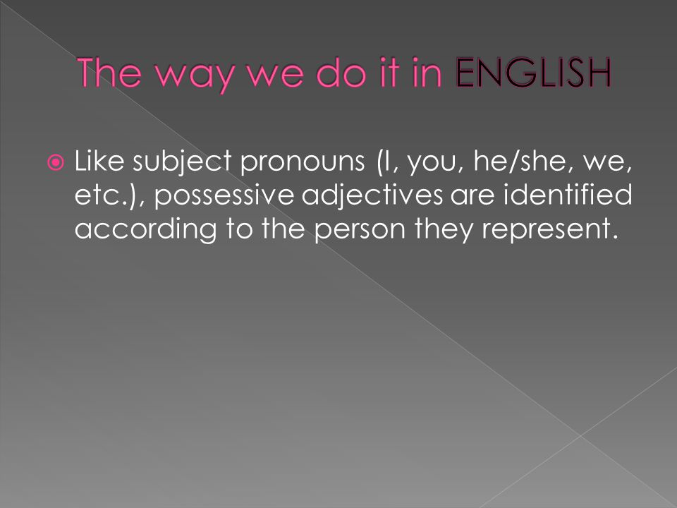  Like subject pronouns (I, you, he/she, we, etc.), possessive adjectives are identified according to the person they represent.
