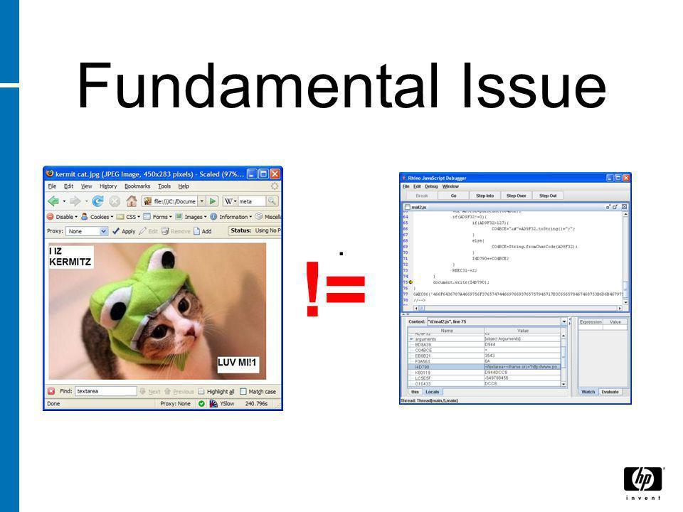 Fundamental Issue. !=