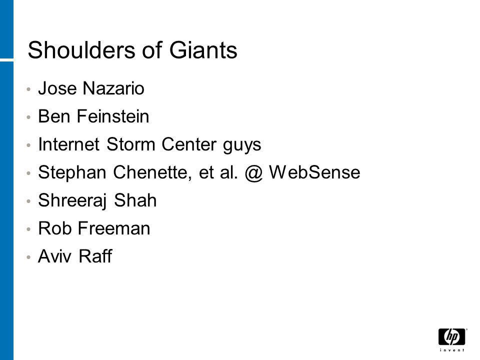 Shoulders of Giants Jose Nazario Ben Feinstein Internet Storm Center guys Stephan Chenette, et al.