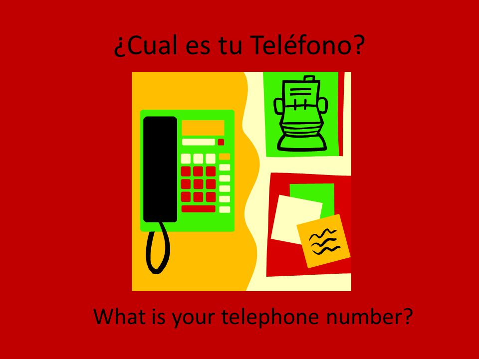 ¿Cual es tu Teléfono? What is your telephone number?