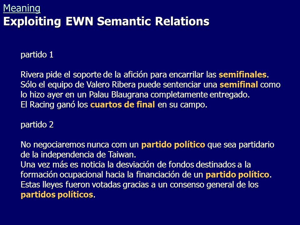 Meaning Exploiting EWN Semantic Relations partido 1 Rivera pide el soporte de la afición para encarrilar las semifinales.