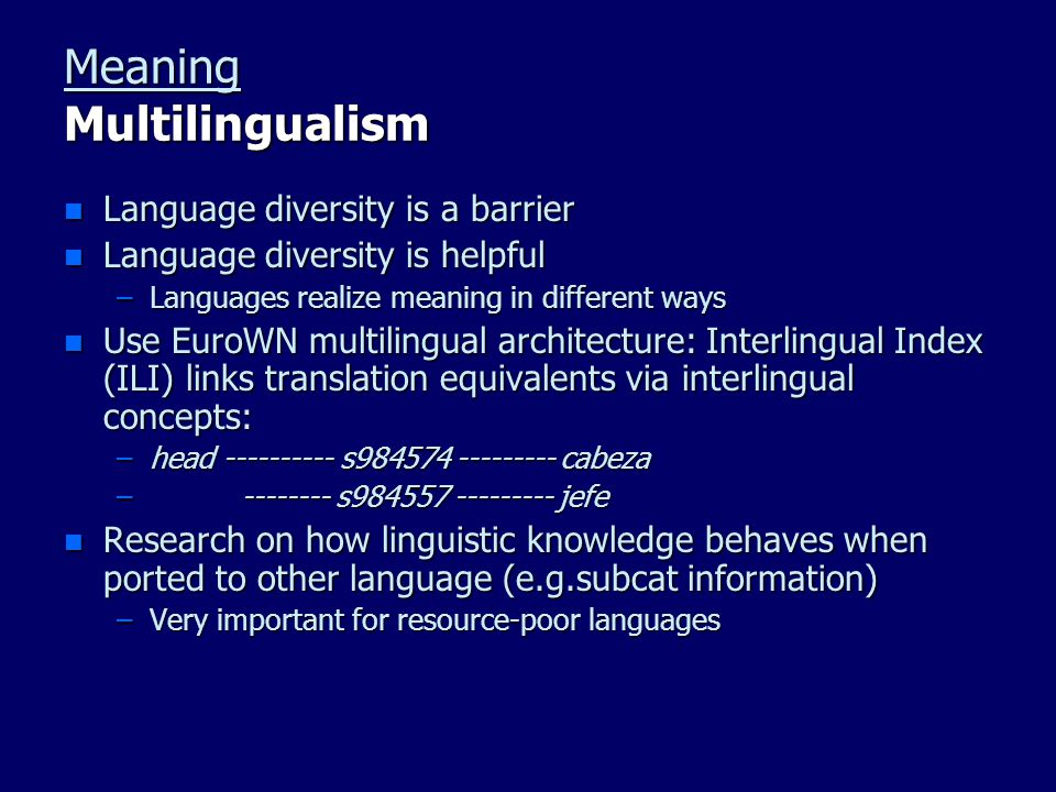 Meaning Multilingualism n Language diversity is a barrier n Language diversity is helpful –Languages realize meaning in different ways n Use EuroWN mu