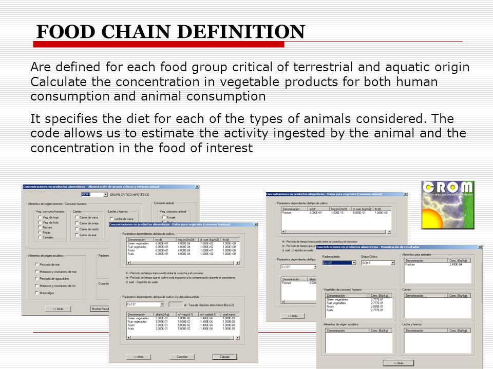Are defined for each food group critical of terrestrial and aquatic origin Calculate the concentration in vegetable products for both human consumption and animal consumption It specifies the diet for each of the types of animals considered.
