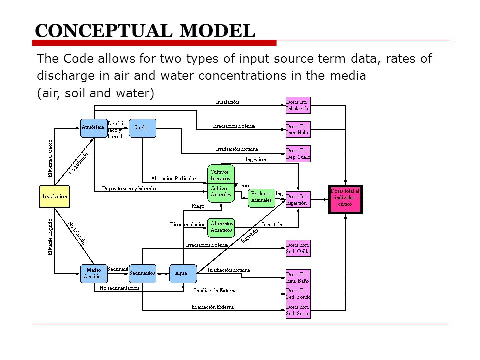 The Code allows for two types of input source term data, rates of discharge in air and water concentrations in the media (air, soil and water) CONCEPTUAL MODEL