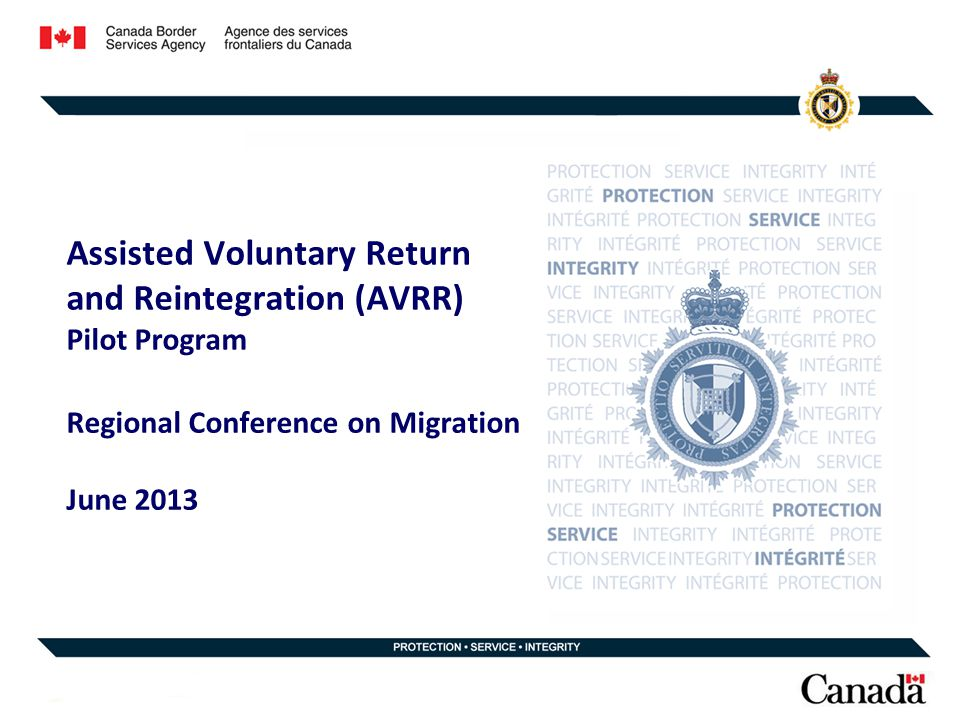 Assisted Voluntary Return and Reintegration (AVRR) Pilot Program Regional Conference on Migration June 2013