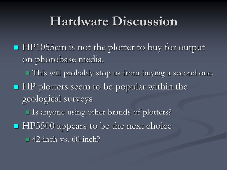 Hardware Discussion HP1055cm is not the plotter to buy for output on photobase media. HP1055cm is not the plotter to buy for output on photobase media