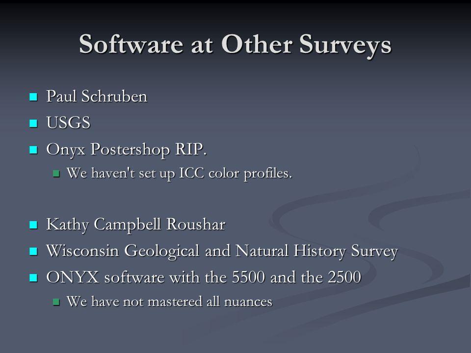 Software at Other Surveys Paul Schruben Paul Schruben USGS USGS Onyx Postershop RIP.