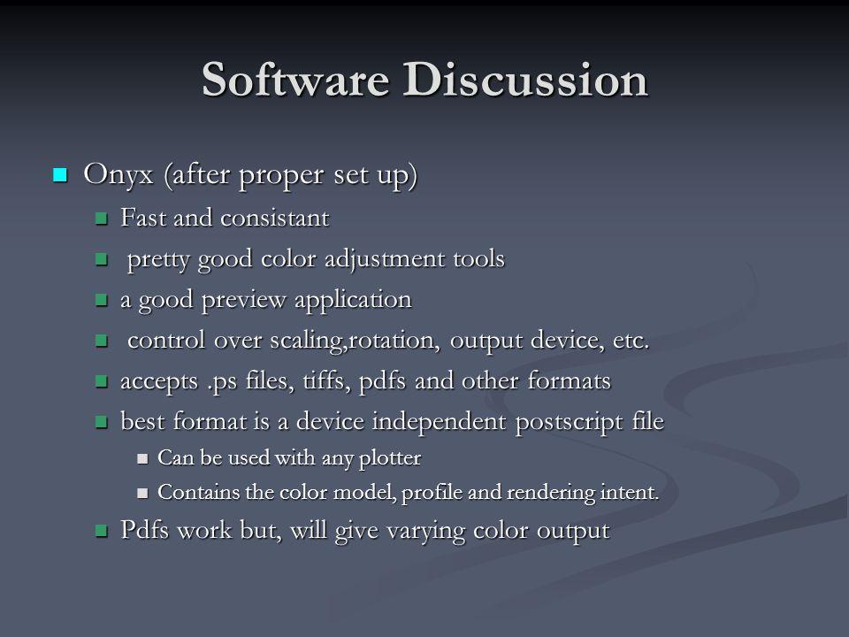 Software Discussion Onyx (after proper set up) Onyx (after proper set up) Fast and consistant Fast and consistant pretty good color adjustment tools p