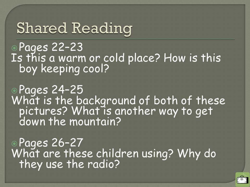  Pages 22–23 Is this a warm or cold place. How is this boy keeping cool.