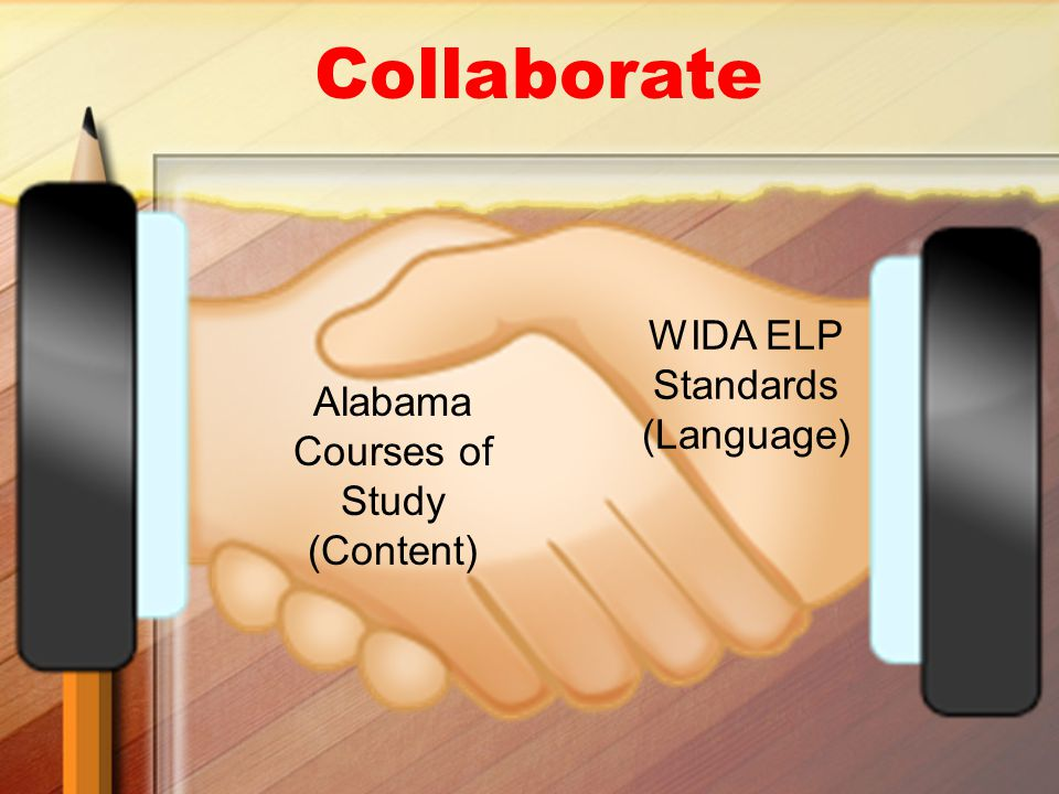 Alabama Courses of Study (Content) WIDA ELP Standards (Language) Collaborate