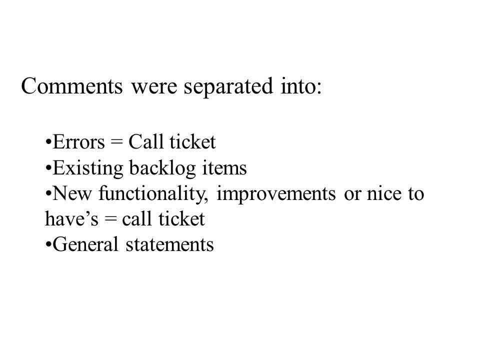 Comments were separated into: Errors = Call ticket Existing backlog items New functionality, improvements or nice to have's = call ticket General stat