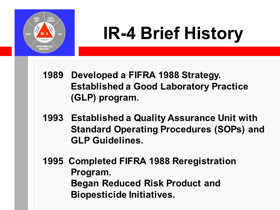IR-4 USDA ARS USDA CSREES SAESEPA AGRICHEMICALS INDUSTRY Consumers Food Processors Commodity Producers IR-4 Brief History 1989 Developed a FIFRA 1988
