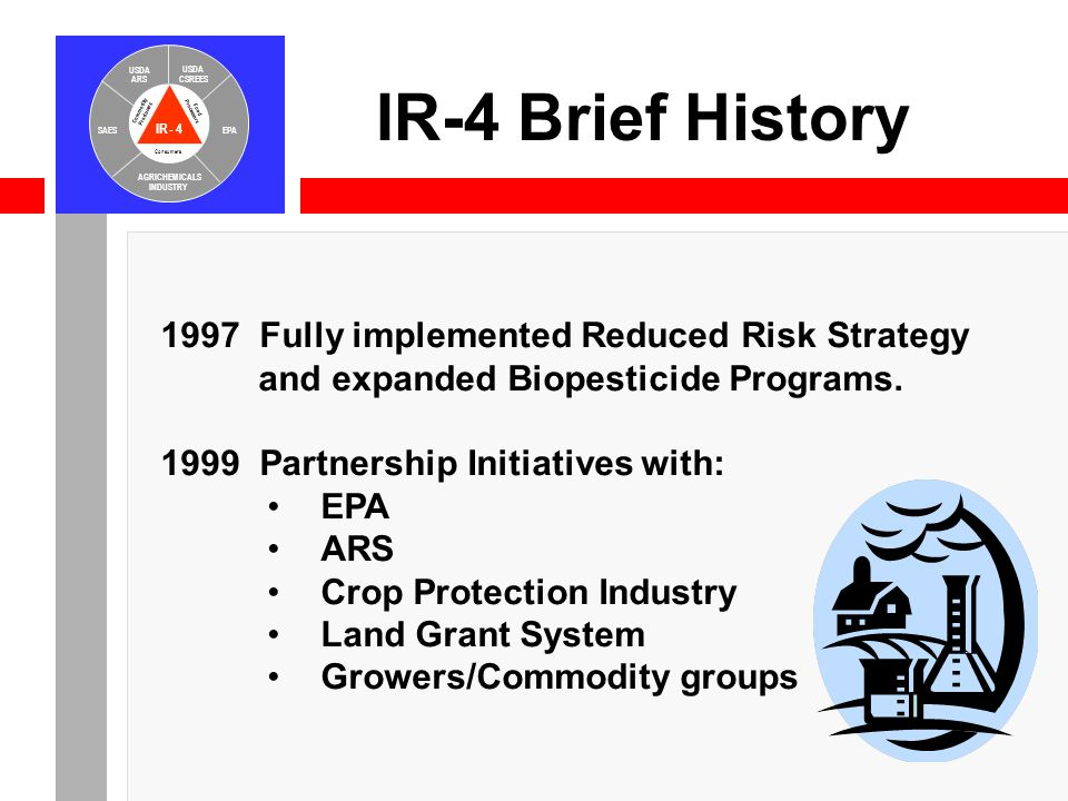 IR-4 USDA ARS USDA CSREES SAESEPA AGRICHEMICALS INDUSTRY Consumers Food Processors Commodity Producers IR-4 Brief History 1997 Fully implemented Reduced Risk Strategy and expanded Biopesticide Programs.