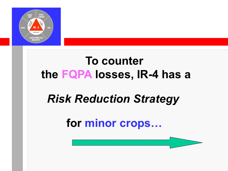 IR-4 USDA ARS USDA CSREES SAESEPA AGRICHEMICALS INDUSTRY Consumers Food Processors Commodity Producers To counter the FQPA losses, IR-4 has a Risk Reduction Strategy for minor crops…