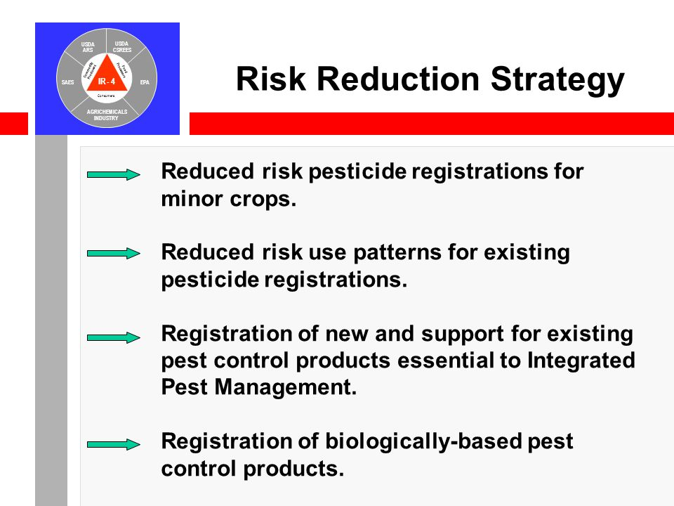 IR-4 USDA ARS USDA CSREES SAESEPA AGRICHEMICALS INDUSTRY Consumers Food Processors Commodity Producers Reduced risk pesticide registrations for minor crops.