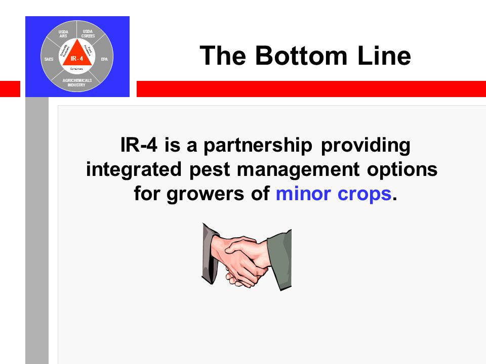 IR-4 USDA ARS USDA CSREES SAESEPA AGRICHEMICALS INDUSTRY Consumers Food Processors Commodity Producers IR-4 is a partnership providing integrated pest