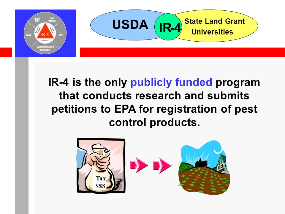 IR-4 USDA ARS USDA CSREES SAESEPA AGRICHEMICALS INDUSTRY Consumers Food Processors Commodity Producers USDA State Land Grant Universities IR-4 IR-4 is the only publicly funded program that conducts research and submits petitions to EPA for registration of pest control products.