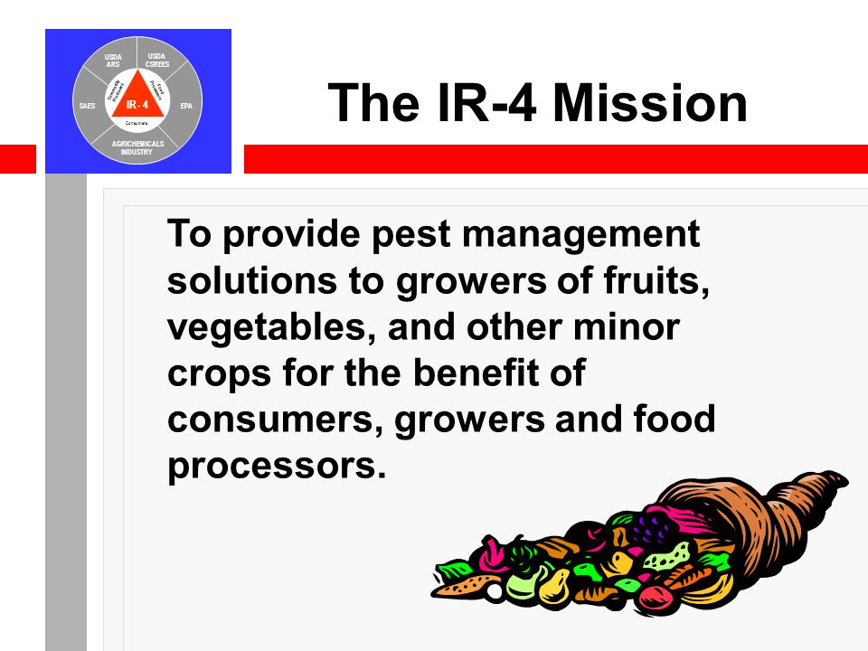 IR-4 USDA ARS USDA CSREES SAESEPA AGRICHEMICALS INDUSTRY Consumers Food Processors Commodity Producers The IR-4 Mission To provide pest management sol