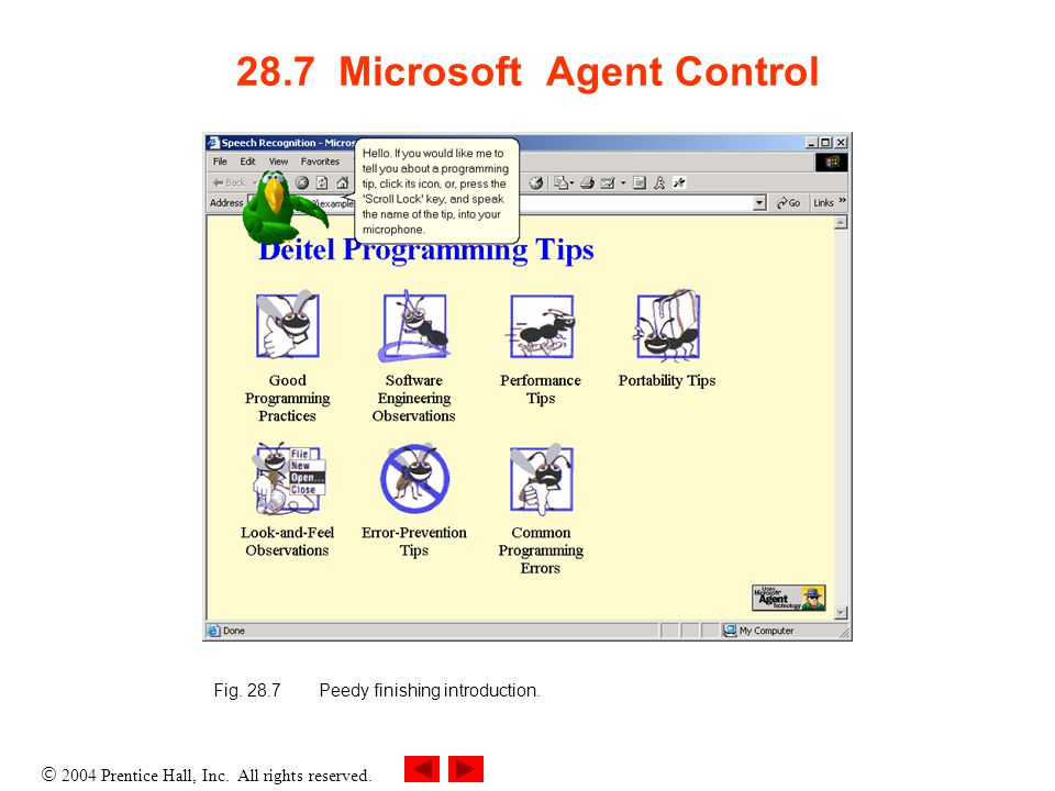 28.7 Microsoft Agent Control Fig. 28.7Peedy finishing introduction.