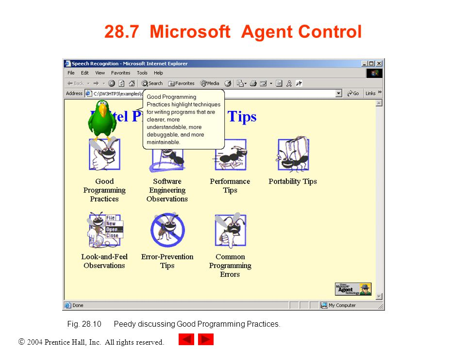  2004 Prentice Hall, Inc. All rights reserved. 28.7 Microsoft Agent Control Fig.