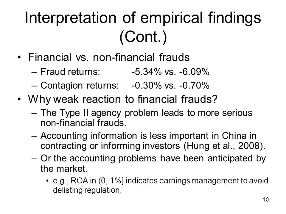 10 Interpretation of empirical findings (Cont.) Financial vs.