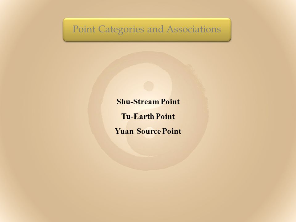 Shu-Stream Point Tu-Earth Point Yuan-Source Point Point Categories and Associations
