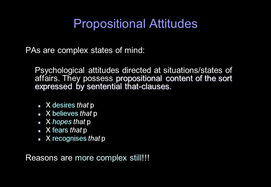 Propositional Attitudes PAs are complex states of mind: propositional content of the sort expressed by sentential that-clauses.