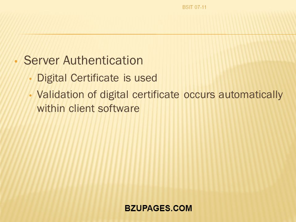BZUPAGES.COM Server Authentication Digital Certificate is used Validation of digital certificate occurs automatically within client software BSIT 07-1
