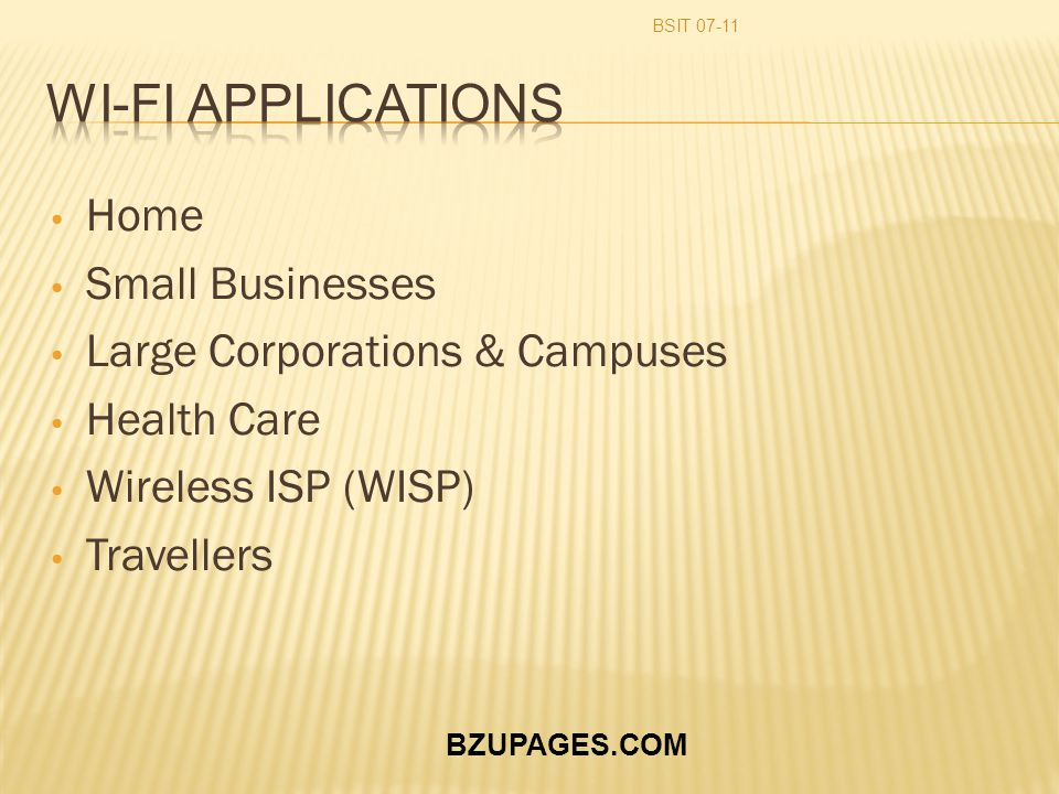 BZUPAGES.COM Home Small Businesses Large Corporations & Campuses Health Care Wireless ISP (WISP) Travellers BSIT 07-11