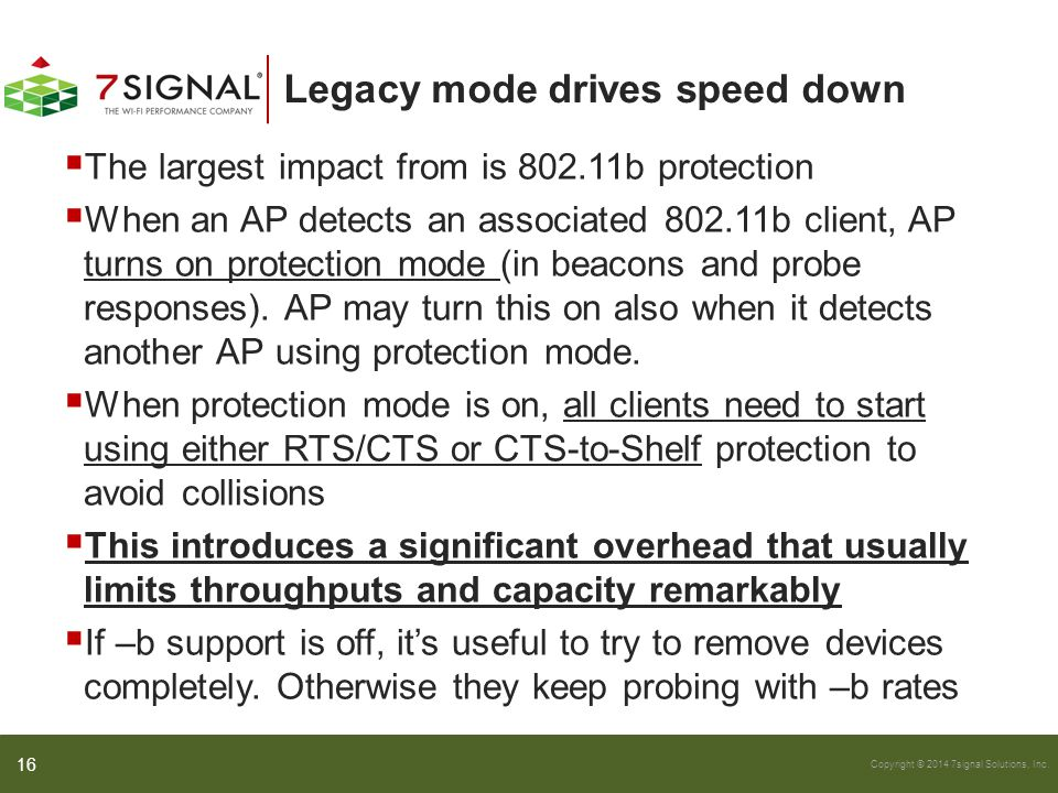 Copyright © 2014 7signal Solutions, Inc. Legacy mode drives speed down  The largest impact from is 802.11b protection  When an AP detects an associa