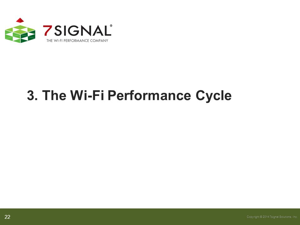 Copyright © 2014 7signal Solutions, Inc. 3. The Wi-Fi Performance Cycle 22