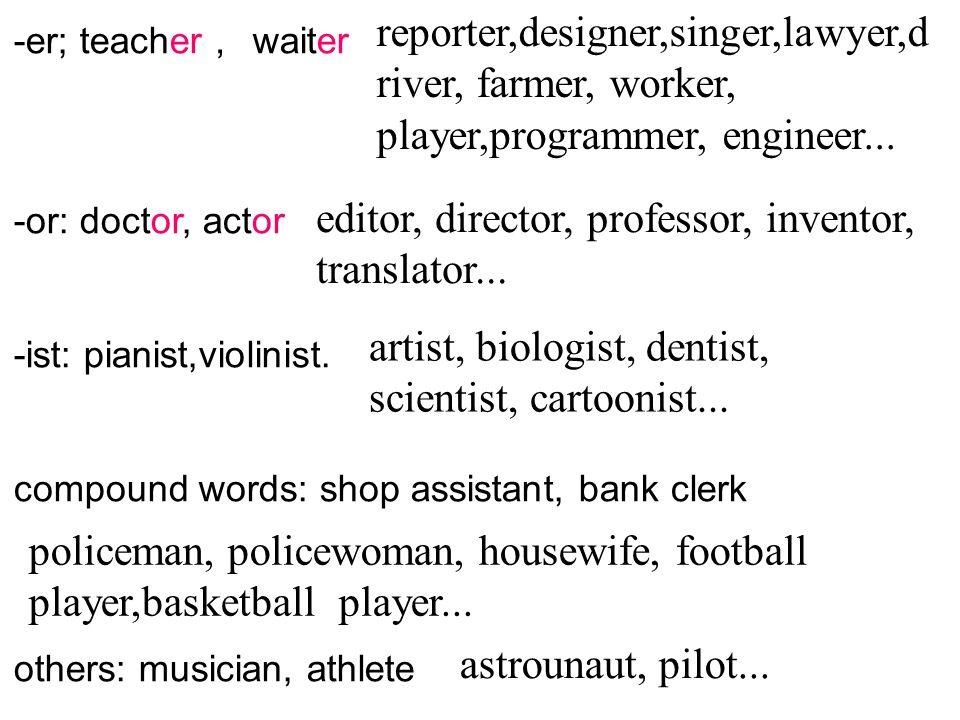 -er; teacher , waiter -or: doctor, actor -ist: pianist,violinist. compound words: shop assistant, bank clerk others: musician, athlete reporter,design