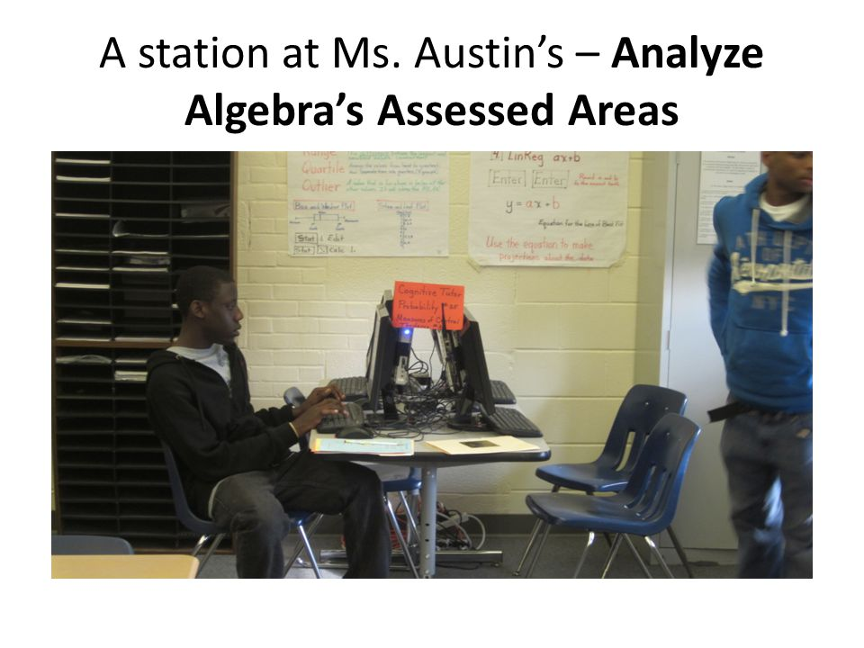 A station at Ms. Austin's – Analyze Algebra's Assessed Areas