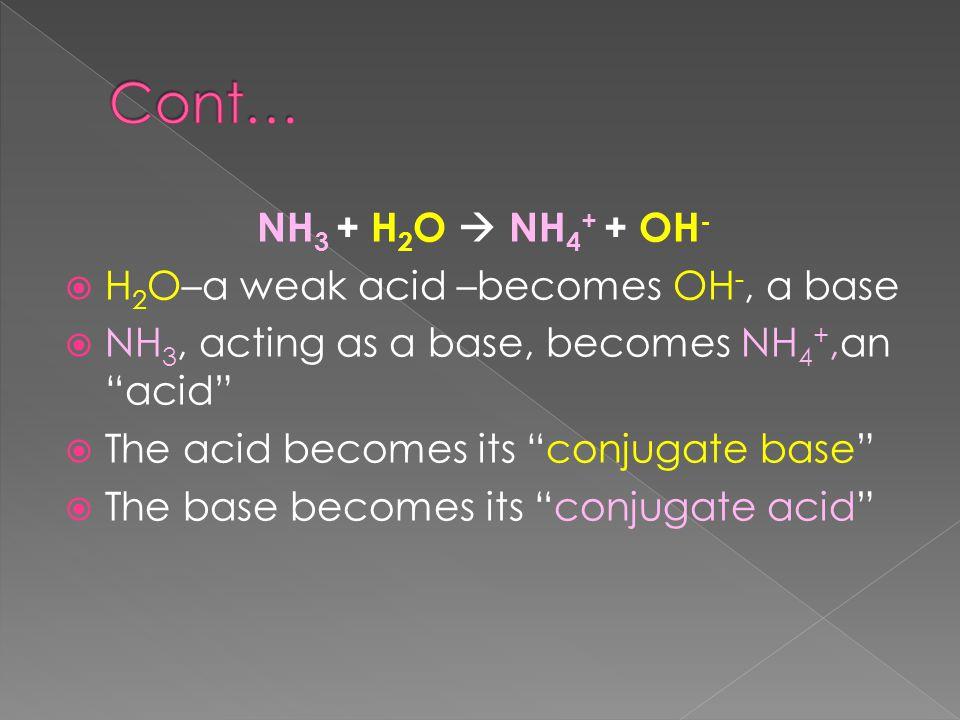 NH 3 + H 2 O  NH 4 + + OH -  H 2 O–a weak acid –becomes OH -, a base  NH 3, acting as a base, becomes NH 4 +,an acid  The acid becomes its conjugate base  The base becomes its conjugate acid
