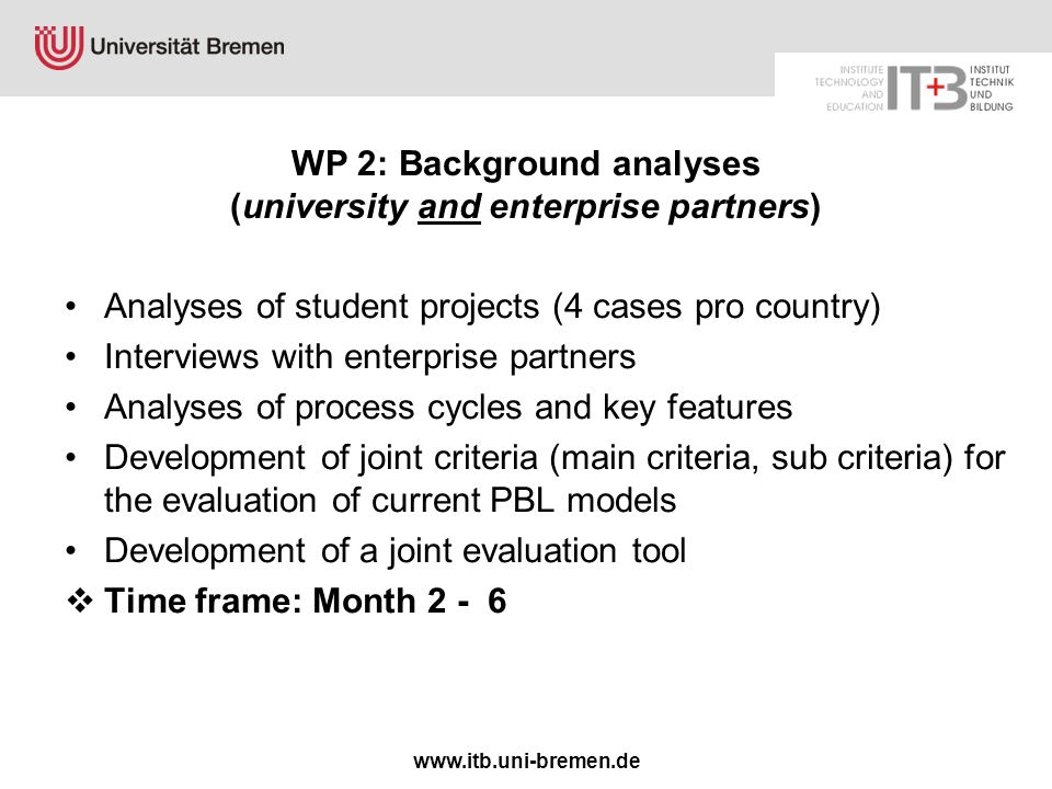 www.itb.uni-bremen.de WP 2: Background analyses (university and enterprise partners) Analyses of student projects (4 cases pro country) Interviews wit