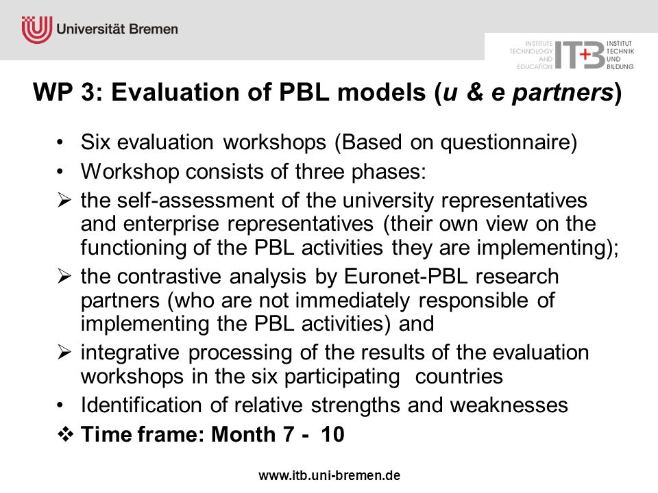www.itb.uni-bremen.de WP 3: Evaluation of PBL models (u & e partners) Six evaluation workshops (Based on questionnaire) Workshop consists of three phases:  the self-assessment of the university representatives and enterprise representatives (their own view on the functioning of the PBL activities they are implementing);  the contrastive analysis by Euronet-PBL research partners (who are not immediately responsible of implementing the PBL activities) and  integrative processing of the results of the evaluation workshops in the six participating countries Identification of relative strengths and weaknesses  Time frame: Month 7 - 10