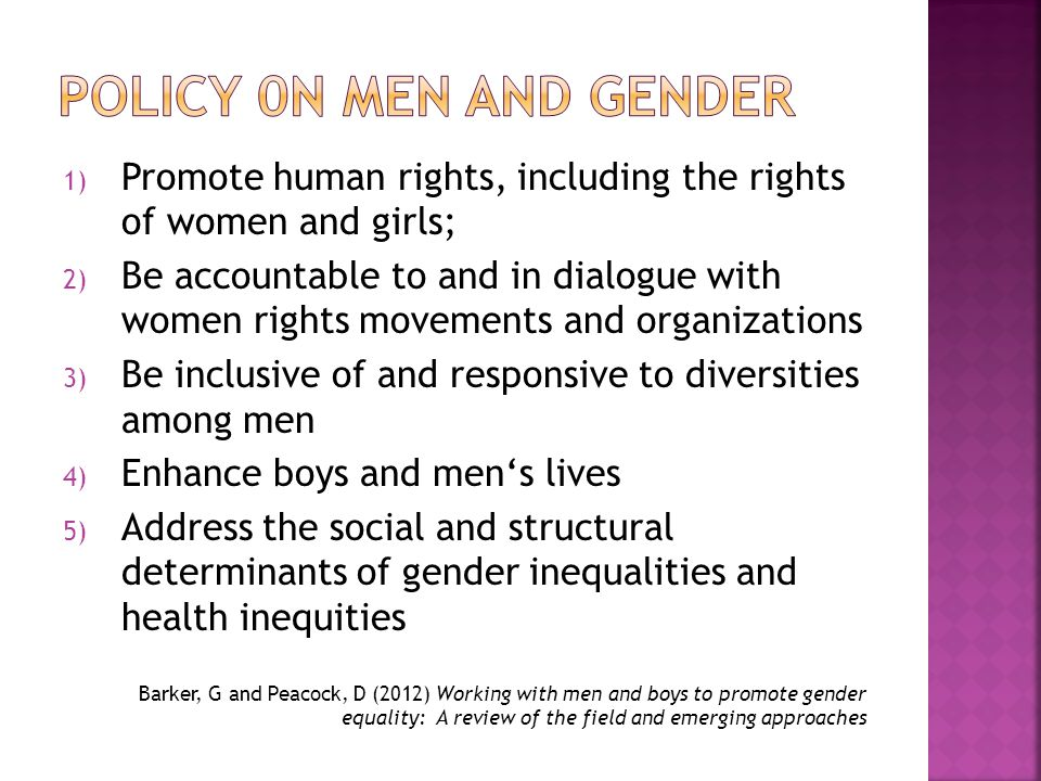 1) Promote human rights, including the rights of women and girls; 2) Be accountable to and in dialogue with women rights movements and organizations 3) Be inclusive of and responsive to diversities among men 4) Enhance boys and men's lives 5) Address the social and structural determinants of gender inequalities and health inequities Barker, G and Peacock, D (2012) Working with men and boys to promote gender equality: A review of the field and emerging approaches
