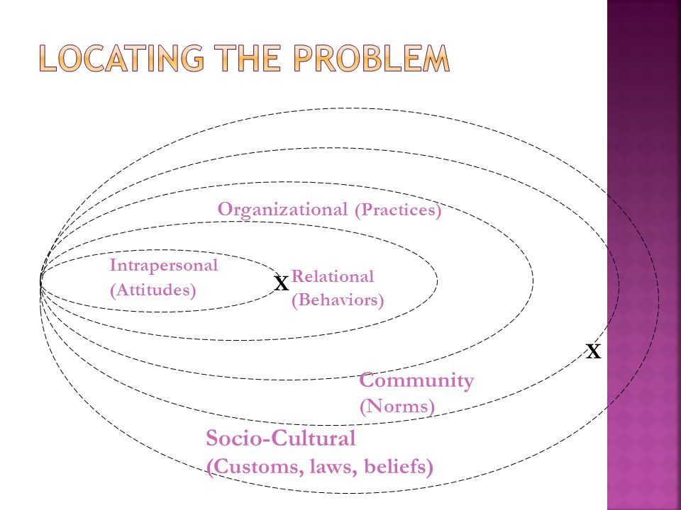 Intrapersonal (Attitudes) Relational (Behaviors) Organizational (Practices) Community (Norms) Socio-Cultural (Customs, laws, beliefs) X X
