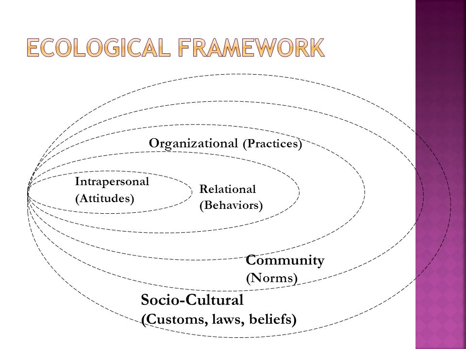 Intrapersonal (Attitudes) Relational (Behaviors) Organizational (Practices) Community (Norms) Socio-Cultural (Customs, laws, beliefs)