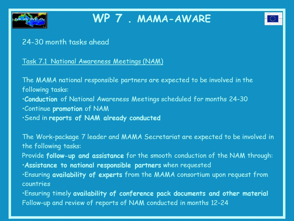 WP 7. MAMA-AWARE 24-30 month tasks ahead Task 7.1 National Awareness Meetings (NAM) The MAMA national responsible partners are expected to be involved