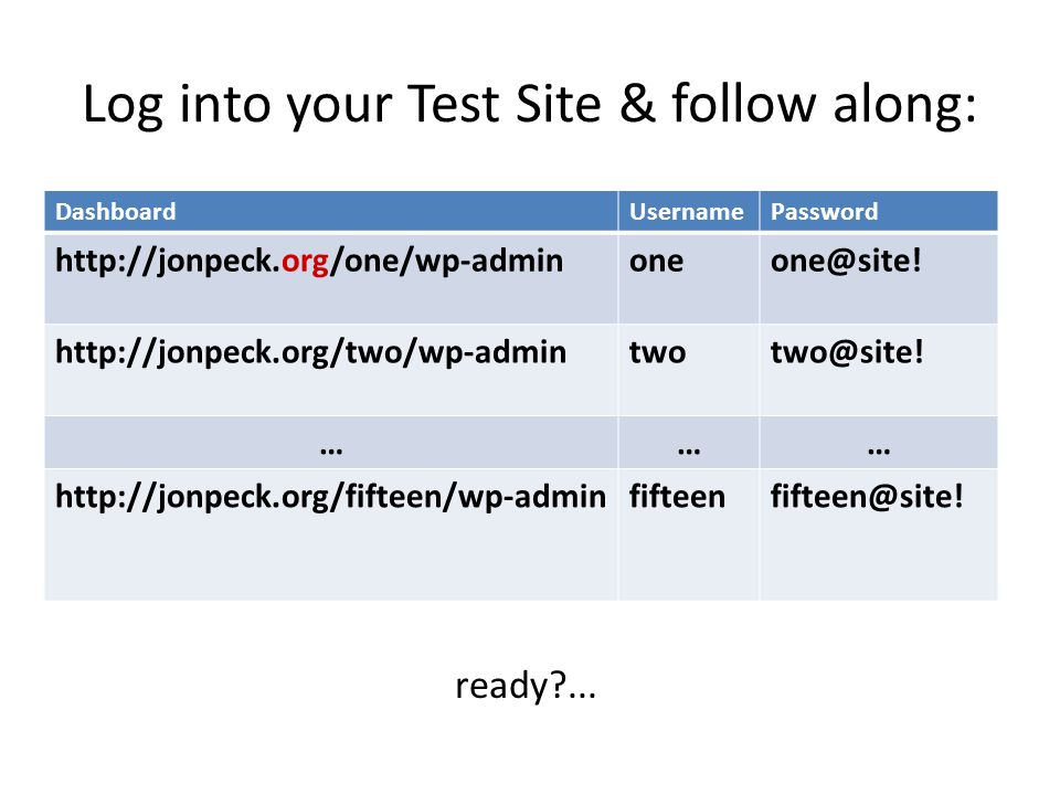 Log into your Test Site & follow along: DashboardUsernamePassword http://jonpeck.org/one/wp-adminoneone@site.