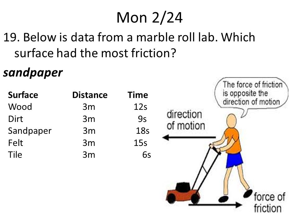 Mon 2/24 19. Below is data from a marble roll lab.