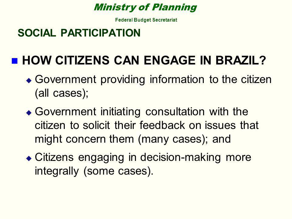Ministry of Planning Federal Budget Secretariat SOCIAL PARTICIPATION HOW CITIZENS CAN ENGAGE IN BRAZIL.