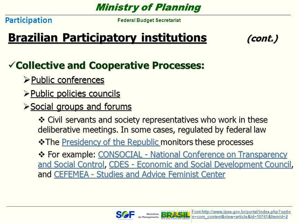 Ministry of Planning Federal Budget Secretariat Ministry of Planning Federal Budget Secretariat Brazilian Participatory institutions (cont.) Collectiv