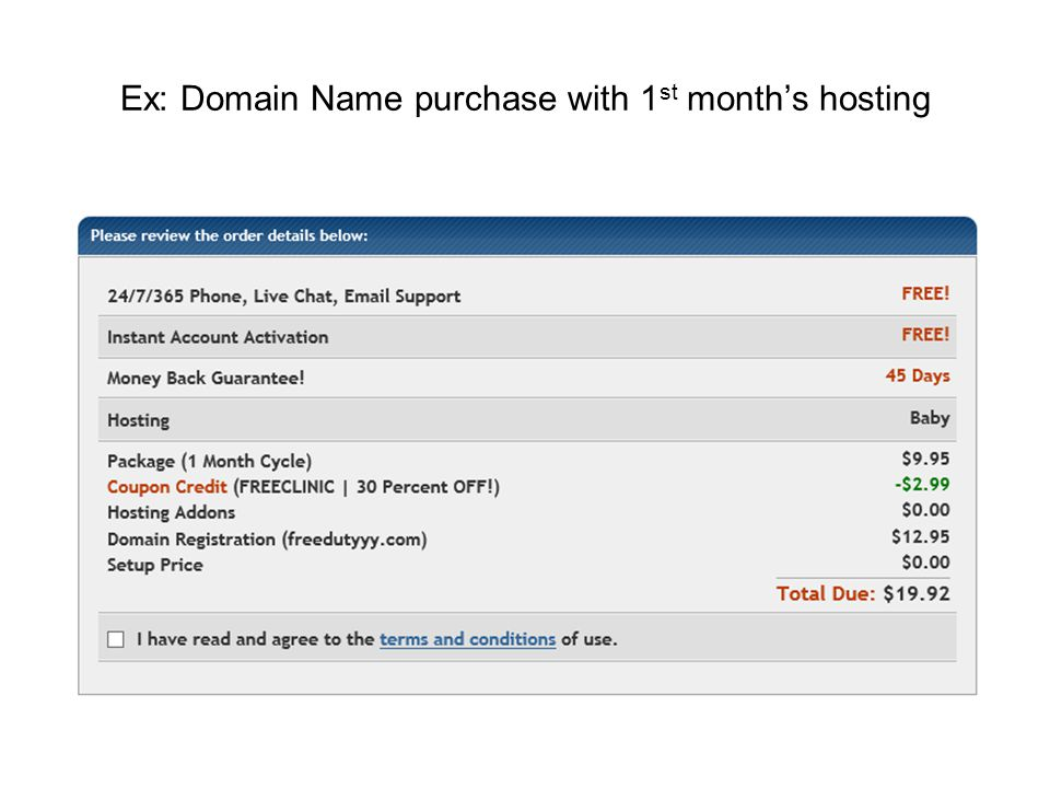 Ex: Domain Name purchase with 1 st month's hosting