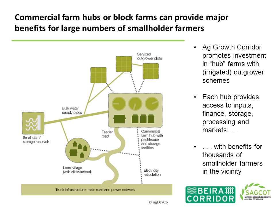 """Ag Growth Corridor promotes investment in """"hub"""" farms with (irrigated) outgrower schemes Each hub provides access to inputs, finance, storage, process"""