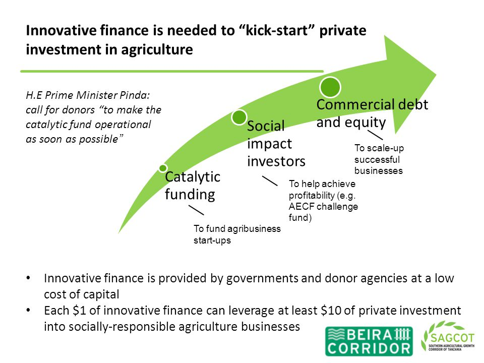 Innovative finance is needed to kick-start private investment in agriculture Innovative finance is provided by governments and donor agencies at a low cost of capital Each $1 of innovative finance can leverage at least $10 of private investment into socially-responsible agriculture businesses H.E Prime Minister Pinda: call for donors to make the catalytic fund operational as soon as possible 9 Catalytic funding Social impact investors Commercial debt and equity To fund agribusiness start-ups To help achieve profitability (e.g.