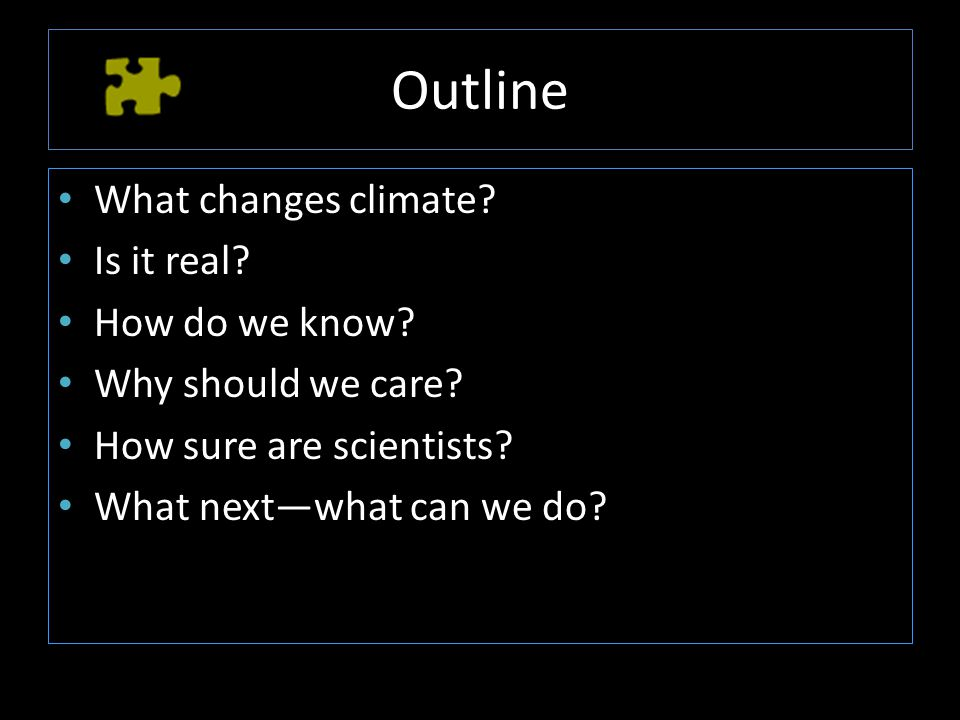 Outline What changes climate. Is it real. How do we know.